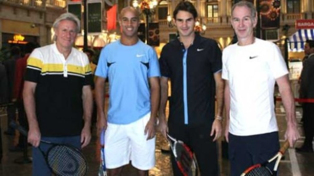 Roger Federer is back on court for another exhibition match on Thursday when he joins James Blake