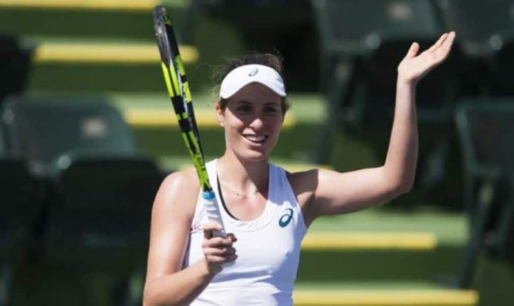 Johanna Konta moved a step closer to breaking into the worldŠ—Ès top 10 after winning her first WTA title at the Bank of the West Classic in Stanford
