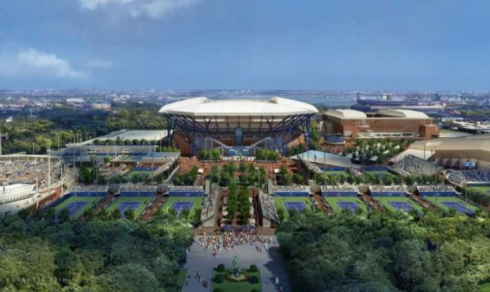 The retractable roof on Arthur Ashe Stadium at Flushing Meadows was officially unveiled ahead of this year's US Open
