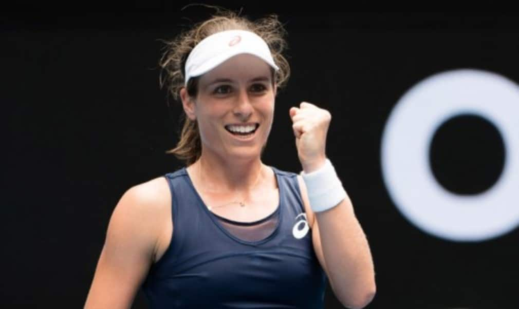 Johanna Konta beat Ekaterina Makarova in straight sets to book her place in the quarter-finals
