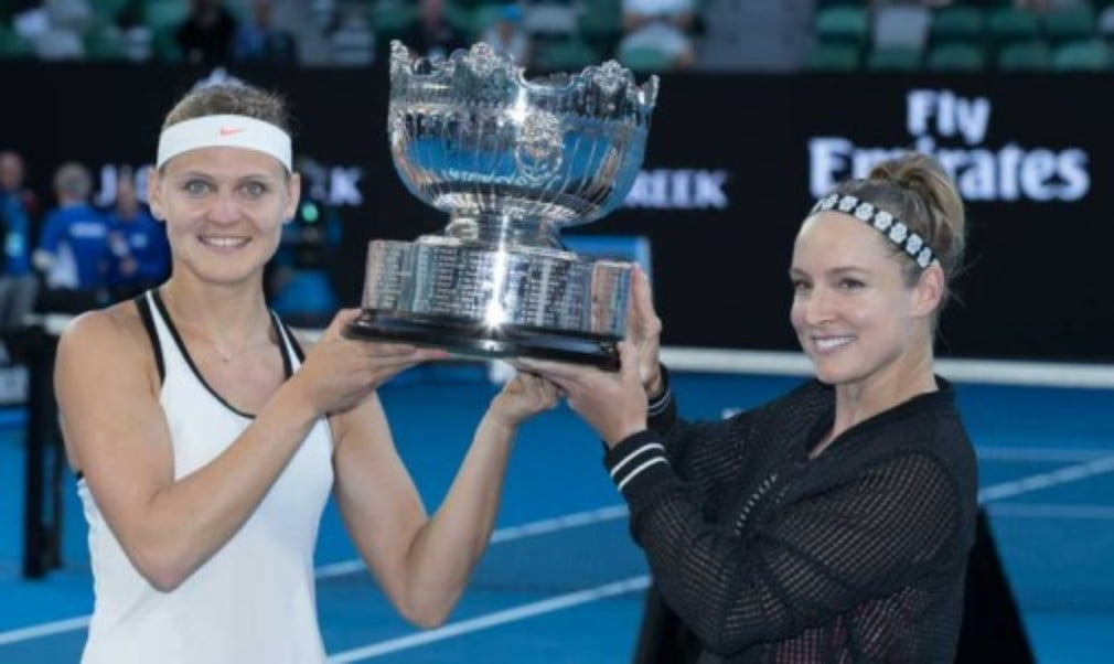 Bethanie Mattek-Sands and Lucie Safarova defeated Andrea Hlavackova and Peng Shuai to win the Australian Open and their fourth Grand Slam doubles championship together