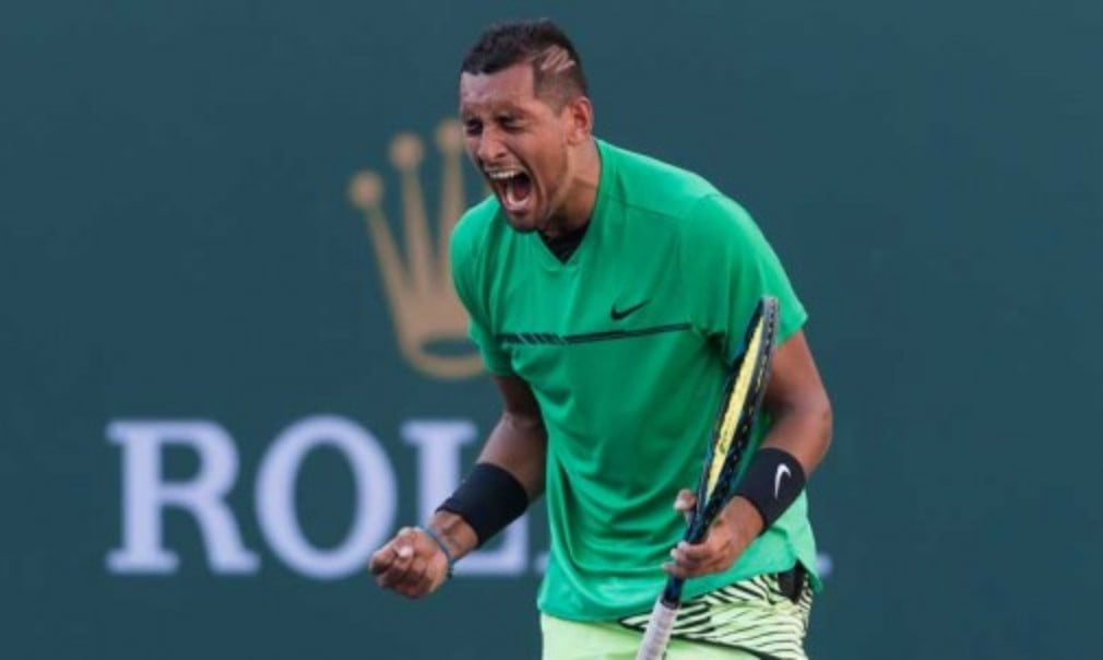 Nick Kyrgios upset Novak Djokovic for the second time in a month as he ended the defending championŠ—Ès 19-match winning streak in Indian Wells
