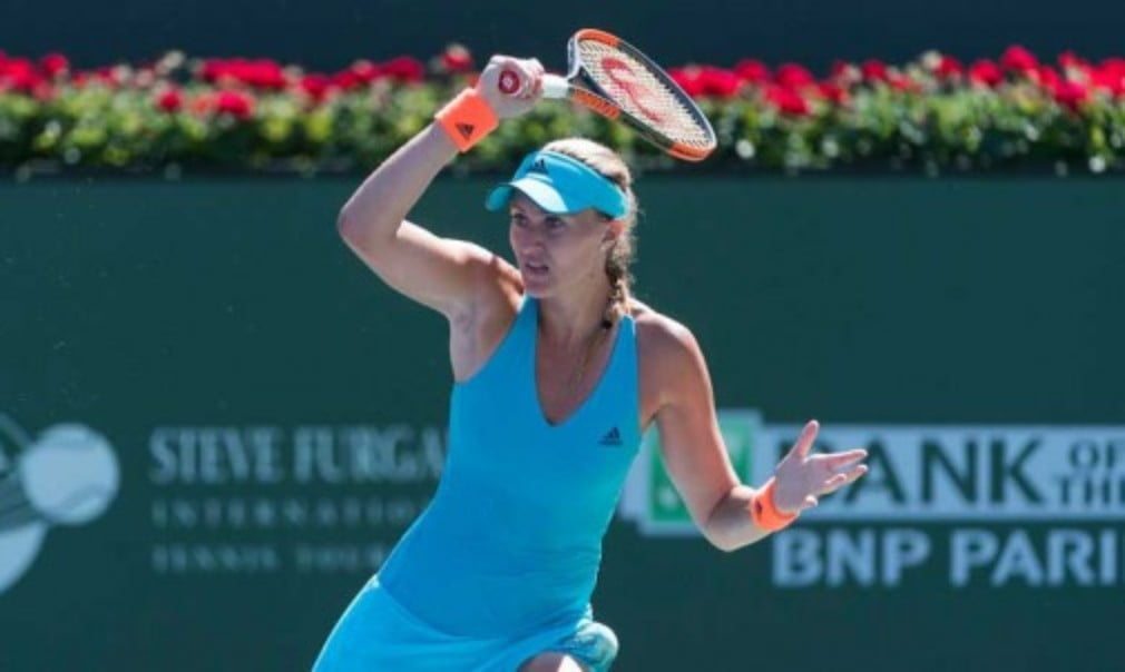 Kristina Mladenovic continued her impressive run of form as she reached the biggest semi-final of her career with victory over Caroline Wozniacki at Indian Wells