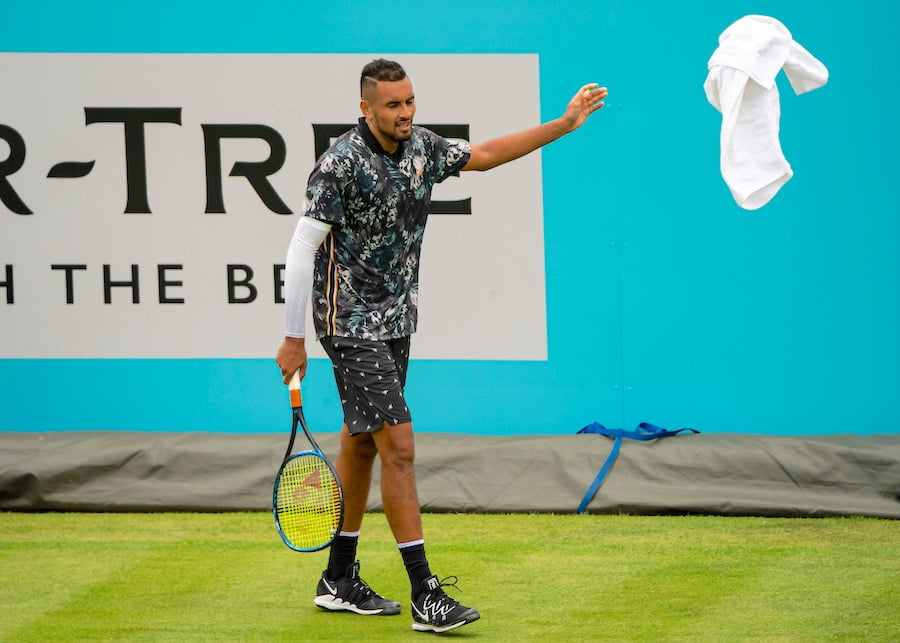 Nick Kyrgios Queens club throws towel