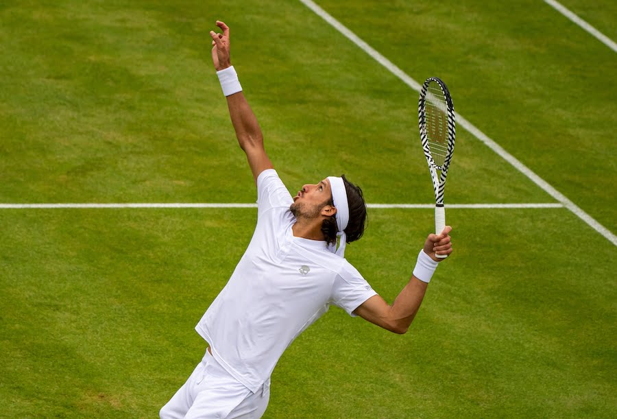 Feliciano Lopez serves at Queens 2019