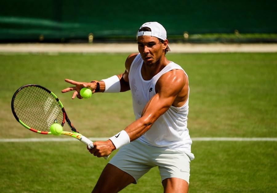 Rafa Nadal practises Wimbledon