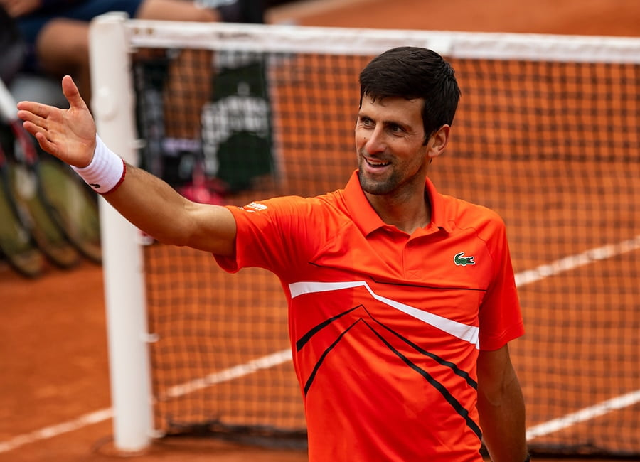 Novak Djokovic gestures at French Open