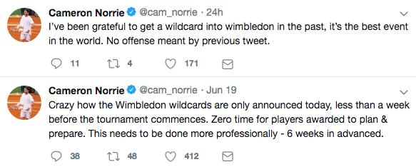 Cameron Norrie Wimbledon tweets