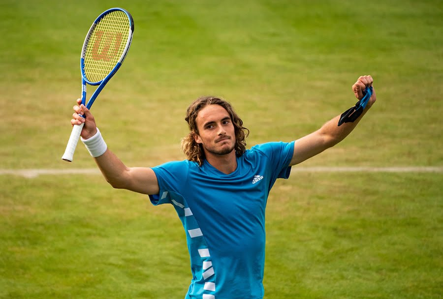 Stefanos Tsitsipas celebrates at Queen's ahead of Wimbledon challenge