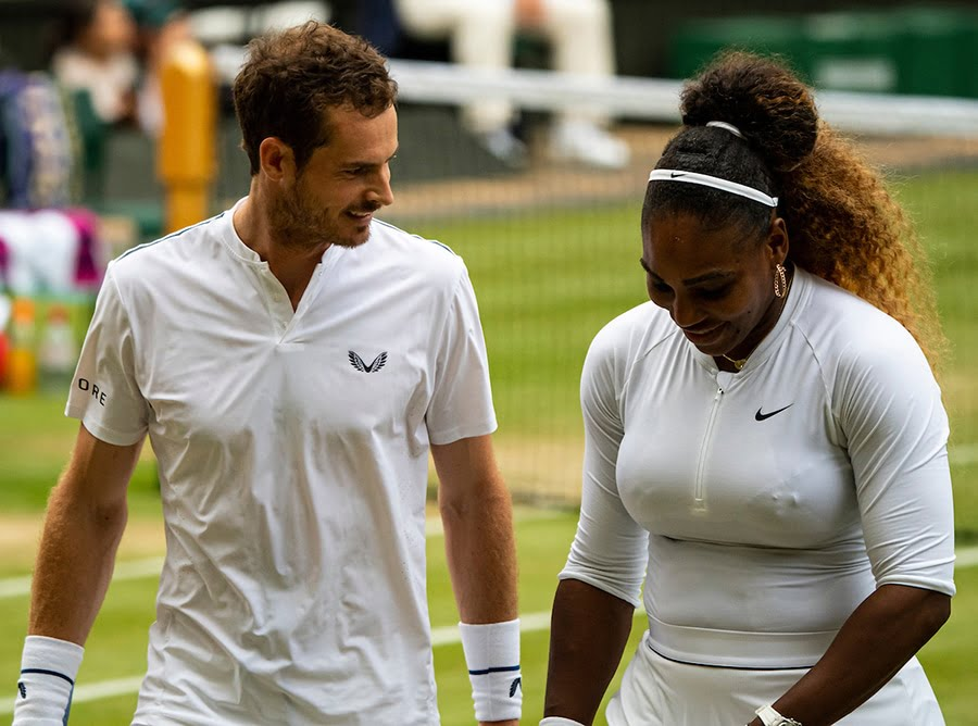 Andy Murray talking to Serena Williams