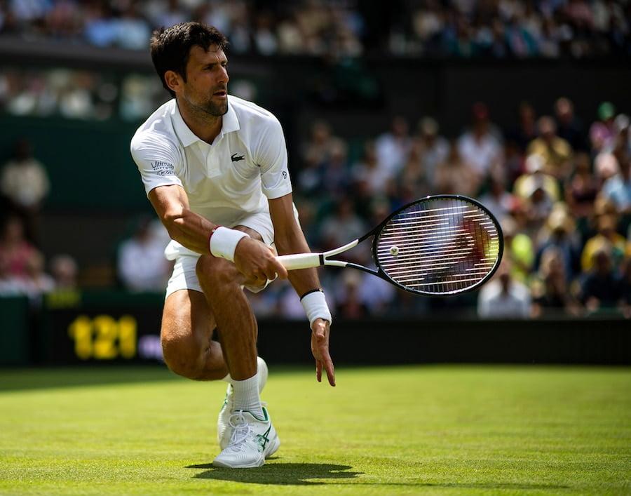 Novak Djokovic Wimbledon 2019 low forehand