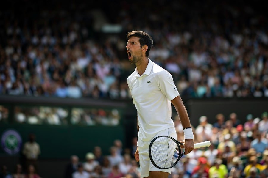 Novak Djokovic screams at Wimbledon 2019