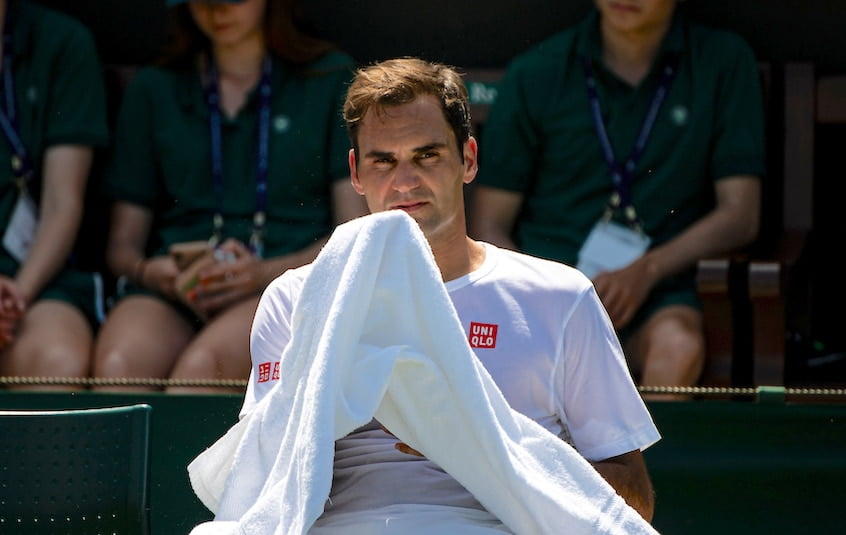 Roger Federer relaxes at Wimbledon 2019