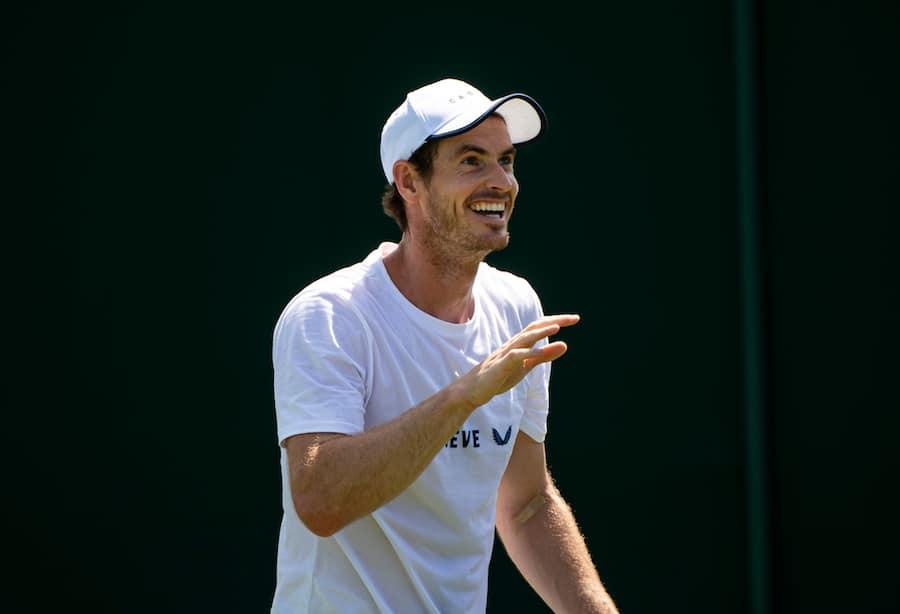 Andy Murray laughs at Wimbledon 2019
