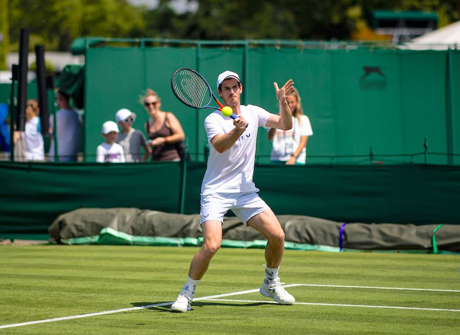 Andy Murray practises at Wimbledon 2019