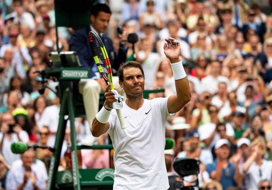 Rafa Nadal Wimbledon 2019 celebrates victory