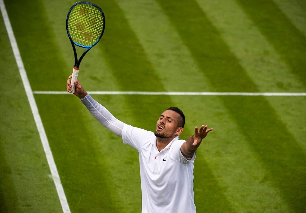 Nick Kyrgios celebrates at Wimbledon