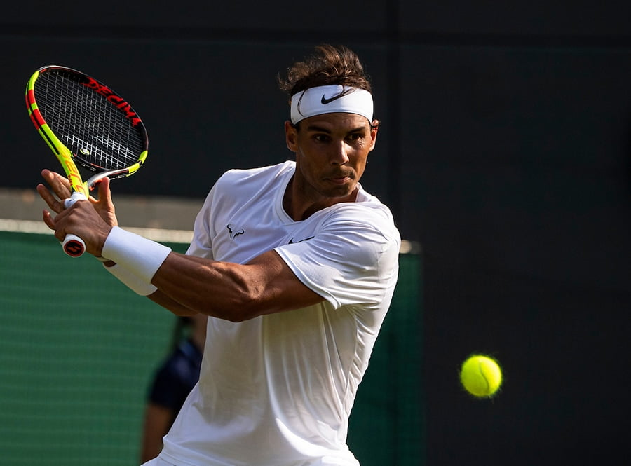 Rafael Nadal backhand at Wimbledon