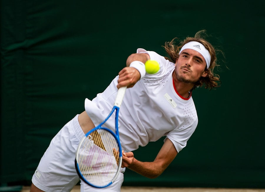 Stefanos Tsitsipas serving at Wimbledon