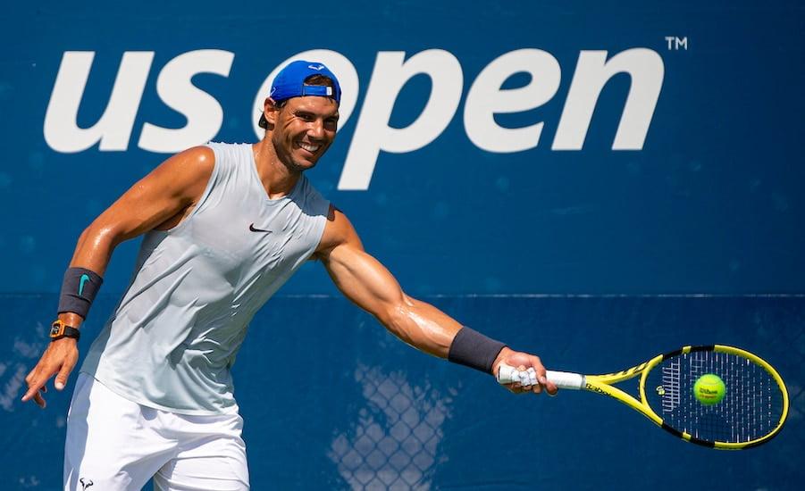 Rafa Nadal smiles practise US Open 2019