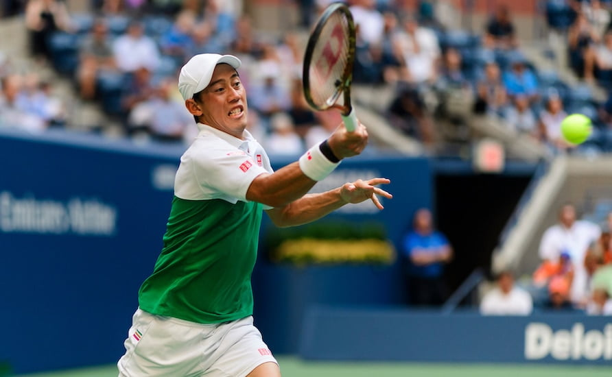 Kei Nishikori US Open forehand
