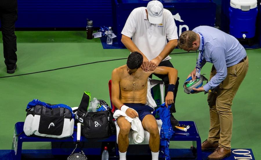 Novak Djokovic US Open 2019 retires injured
