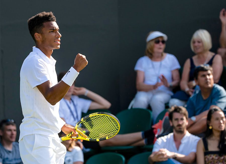 Felix Auger-Aliassime clenches fist Wimbledon 2019