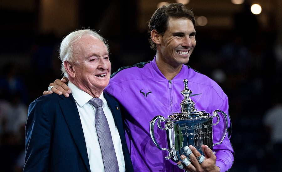 Rafa Nadal holds US Open 2019 trophy with Rod Laver.jpg