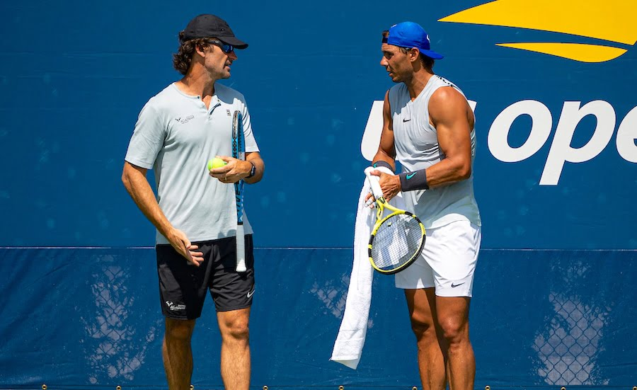 Rafa Nadal with coach Carlos Moya at US Open 2019.jpg