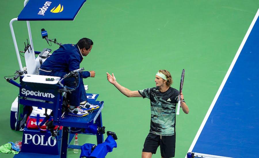 Alexander Zverev US Open 2019 argues with umpire