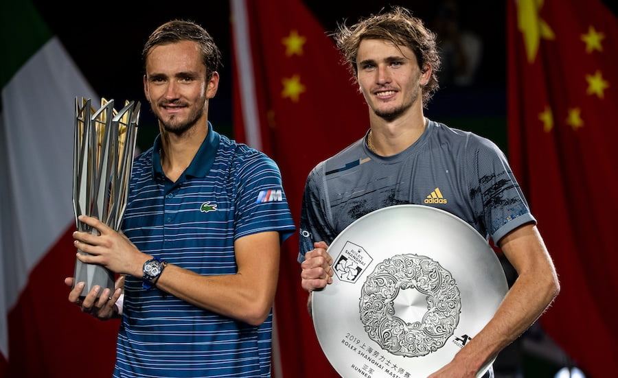 Alexander Zverev and Daniil Medvedev after their Shanghai 2019 final.jpg