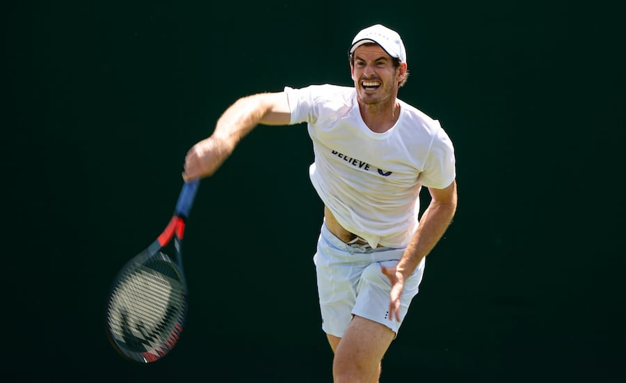 Andy Murray serves in practise at Wimbledon