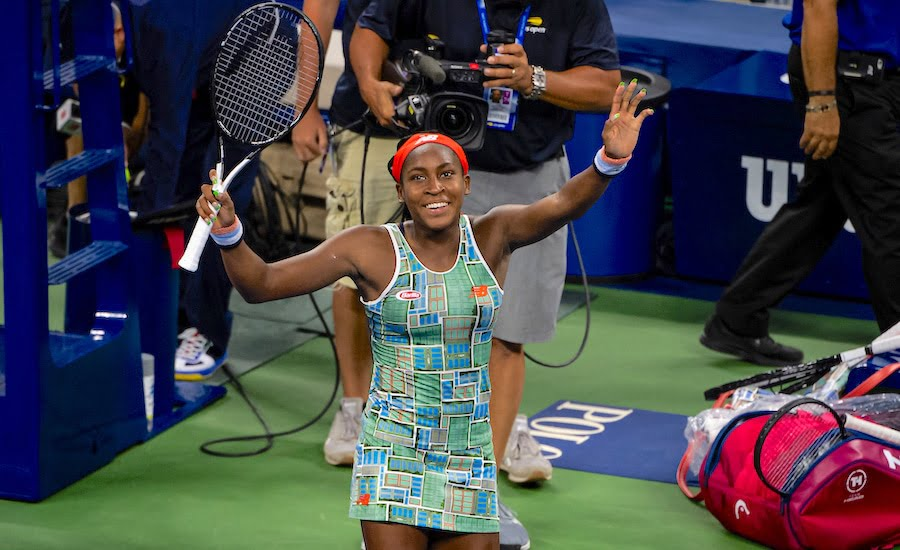 Coco Gauff celebrates at US Open 2019