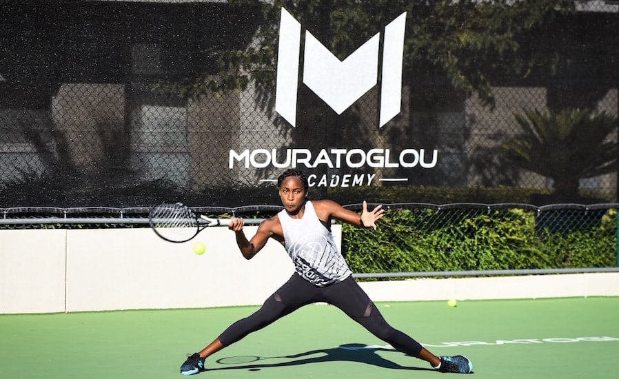Coco Gauff practises at Mouratoglou Academy