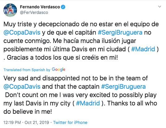 Fernando Verdasco Twitter Sergi Bruguera
