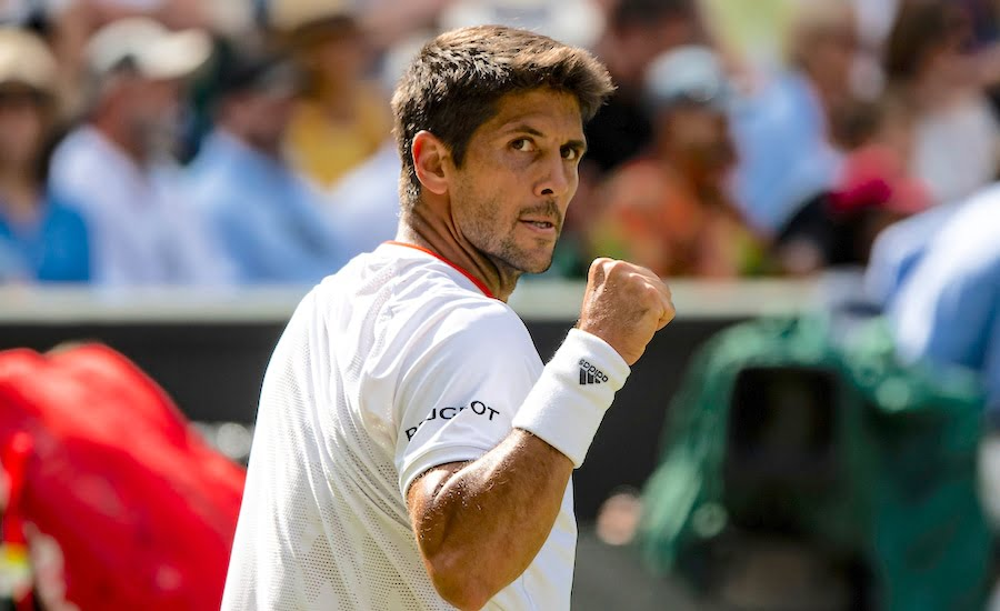 Fernando Verdasco clenches fist at Wimbledon