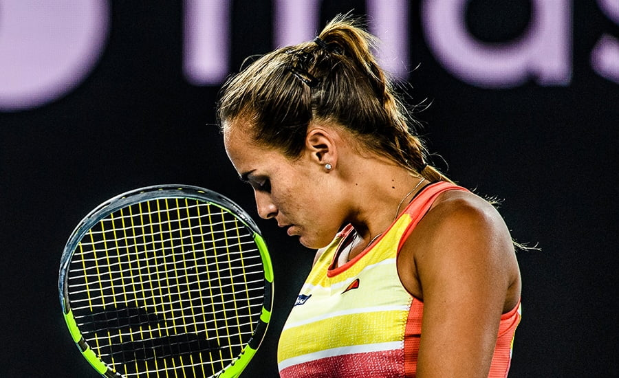 Monica Puig looking down