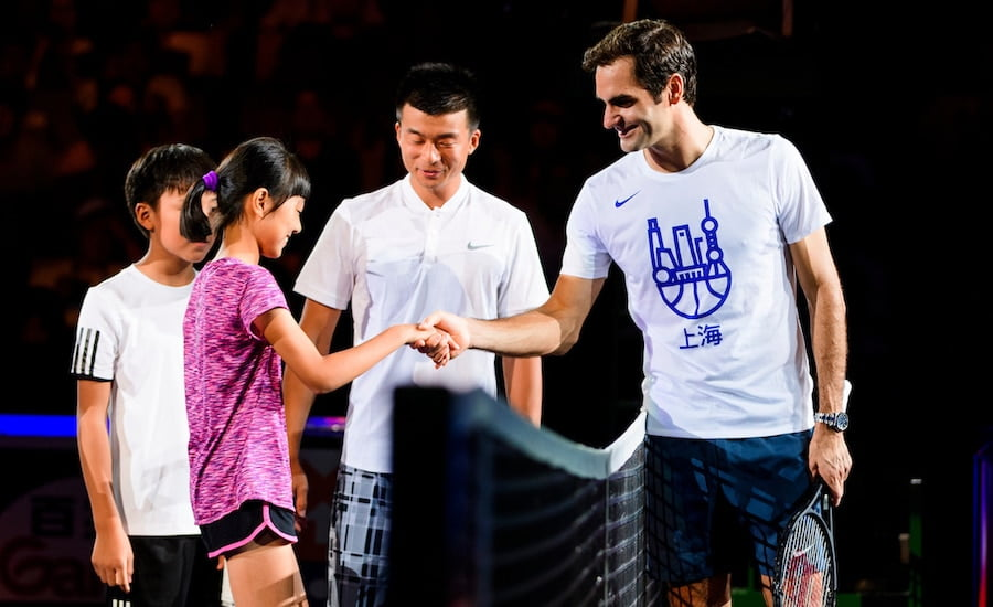 Roger Federer plays exhibition tennis in China.jpg