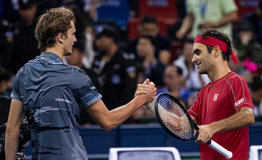 Roger Federer shakes hands with Alexander Zverev after match in Shanghai 2019.jpg
