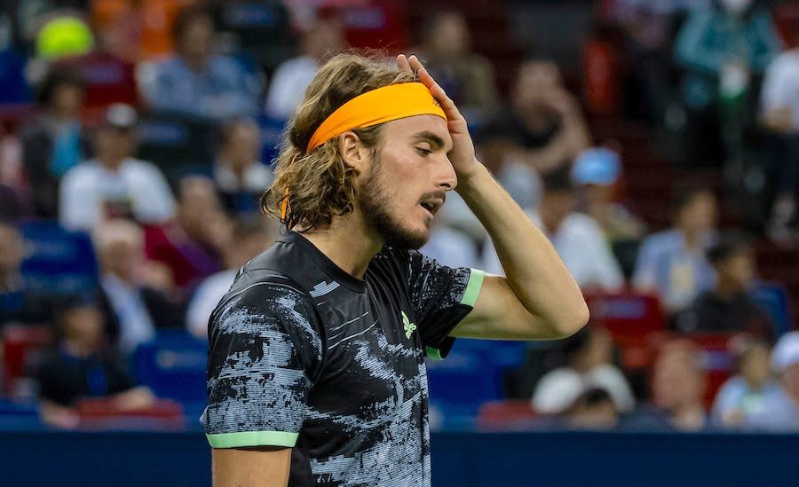 Stefanos Tsitsipas looks upset in Shanghai loss.jpg