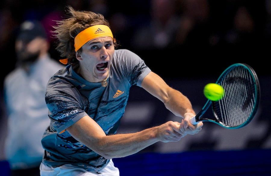 Alexander Zverev stretches for backhand