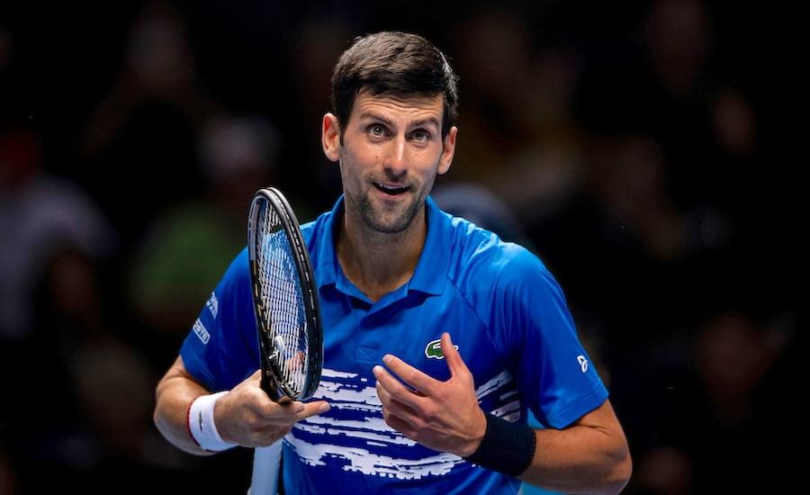 Novak Djokovic celebrates ATP Finals 2020