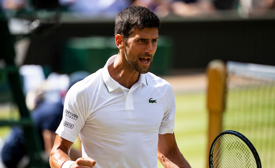 Novak Djokovic cheers at Wimbledon 2019