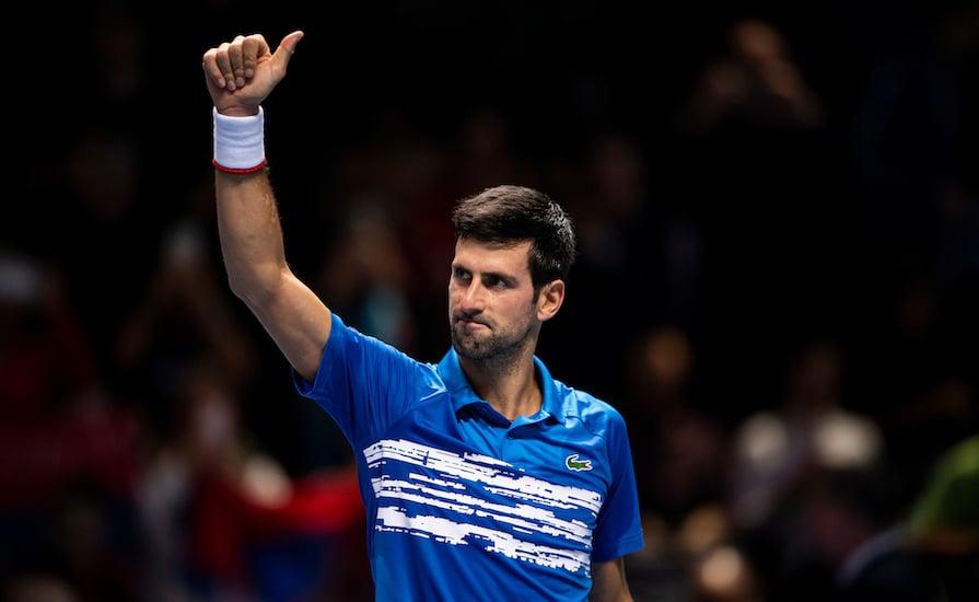 Novak Djokovic thumbs up ATP Finals 2019
