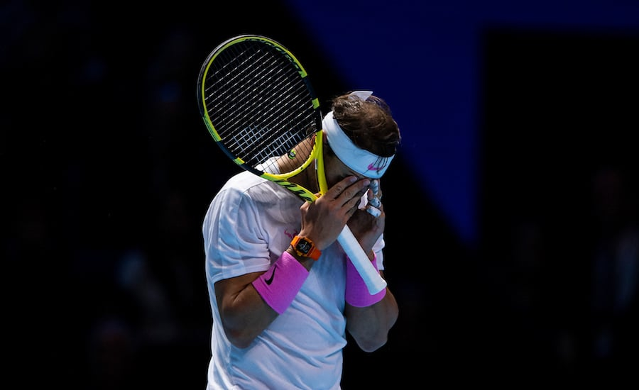 Rafa Nadal ATP Finals 2019 head in hands