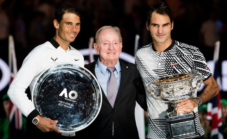 Rod Laver with Federer and Nadal