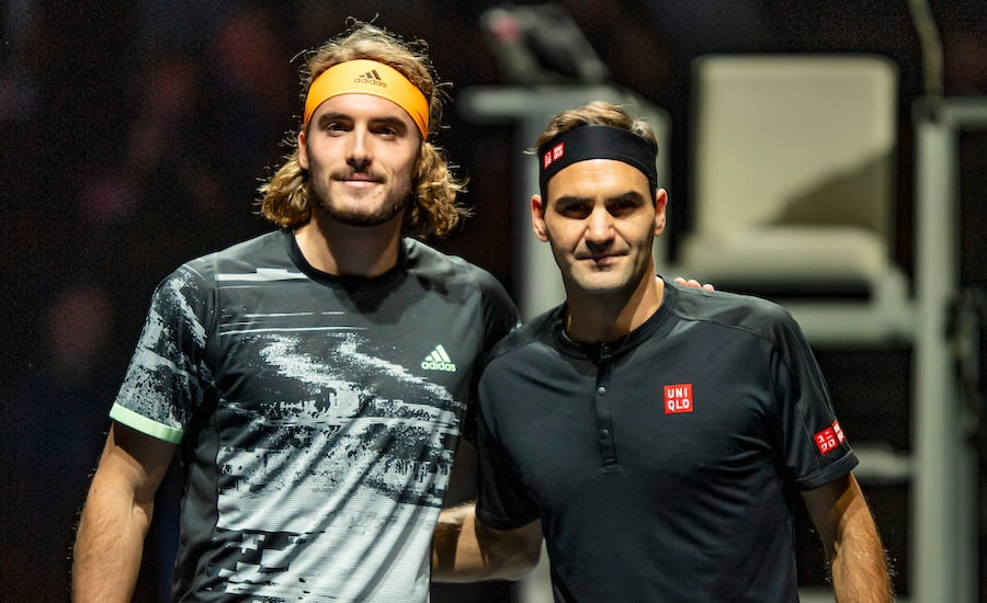 Roger Federer and Stefanos Tsitsipas at ATP Finals 2019