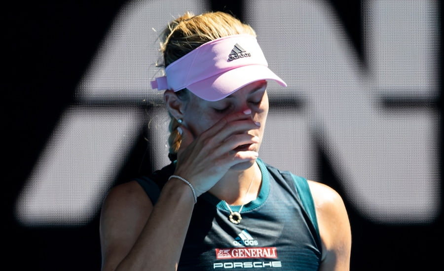 Angelique Kerber looking down