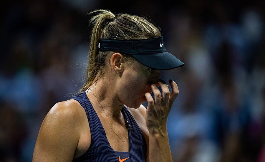 Maria Sharapova looking glum