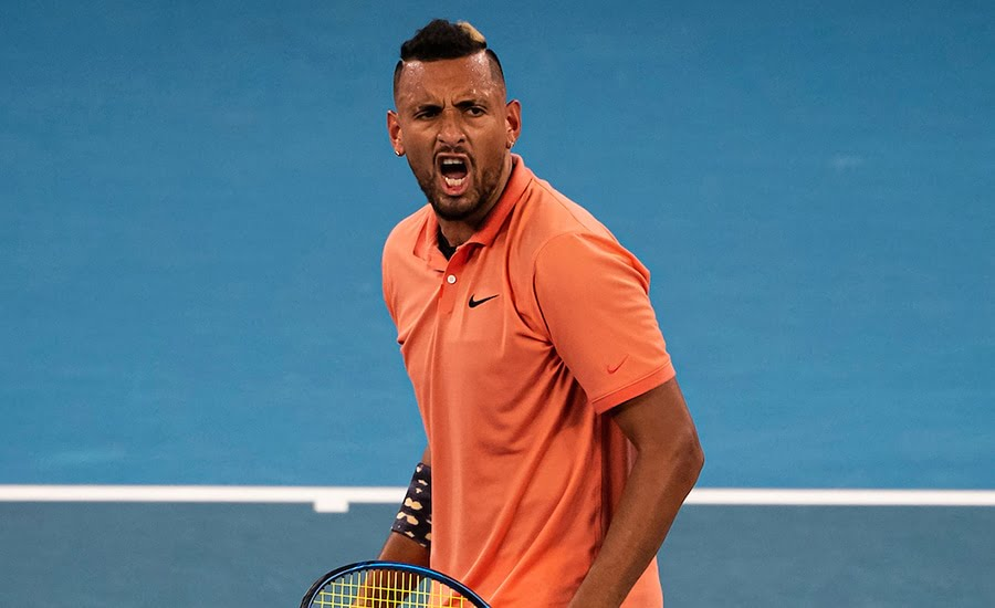 Nick Kyrgios celebrates at Australian Open
